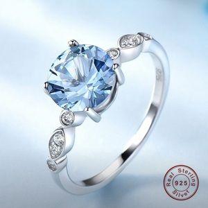 925 Sterling Silver Blue Topaz Ring